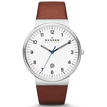 Skagen Mens Ancher Watch - White Dial - Stainless Steel - Brown Leather Strap