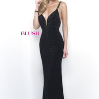Blush Fully Beaded Jersey Dress- Black