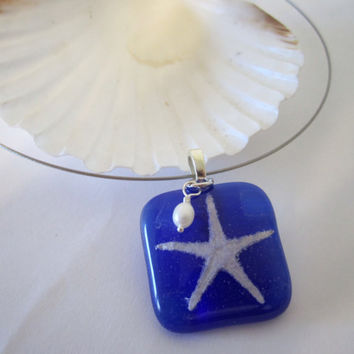 Fused Glass Necklace  Starfish by 636designs on Etsy