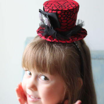 Mini Top Hat for Alice in Wonderland Birthday - Red Top Hat - Mini Top Hat