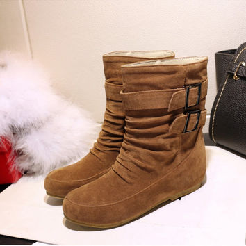 Hot Deal On Sale Winter Plus Size Flat Decoration Boots [6366198532]