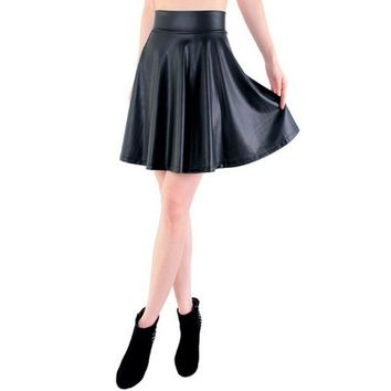 free new high waist faux leather skater flare skirt casual mini skirt knee length solid color black skirt S/M/L/XL