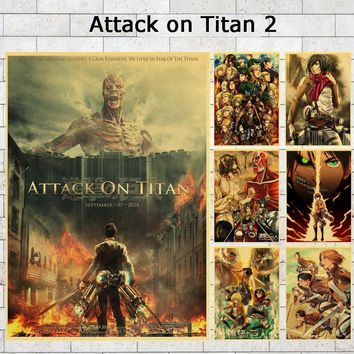 Cool Attack on Titan Hot Sales Japanese Anime  2 Poster Wall Decals Game Poster Home Bar Wall Decorative Painting Wall Decals/Stickers AT_90_11
