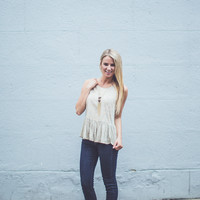 Embroidered Gauze Tank Top in Brown