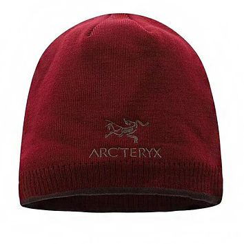 """Arcteryx"" Fashionable Women Men Warm Embroidery Knit Hat Cap Burgundy"