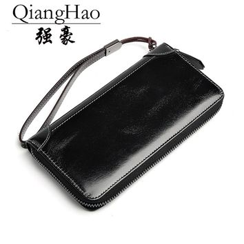 100% Real Leather Zip Wallet men Famous Brand Luxury Designer Wallets men Zipper Coin Purse Female Genuine Leather Clutch