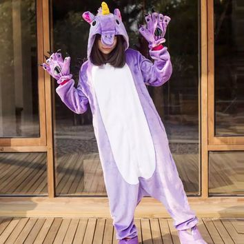 2018 Unicorn Pajamas Onesuit Women Kugurumi panda Winter Flannel Pajama Kigurumi adult Nightie Stitch unicornio Sleepwear Overall