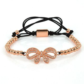 Bow Knot Bracelet Women Rose Gold 2016 Fashion Jewelry 4mm Metal Beads Micro Pave CZ Charm Adjustable Macrame Butterfly Bracelet