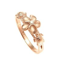 Rose Gold Sterling Silver Alamea Hawaii Honu Turtle and Plumeria Ring