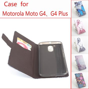 Leather Case For Motorola Moto G4 / G4 Plus / G 4 / G4Plus Cellphone Flip Cover Case Housing With Card Slot Mobile Phone Shell