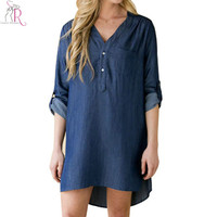 Dark Blue Denim Long Sleeve Mini Shift Fall Dress V Neck Chest Pocket Side Split High Low Hem 2016 Spring Women New Clothing