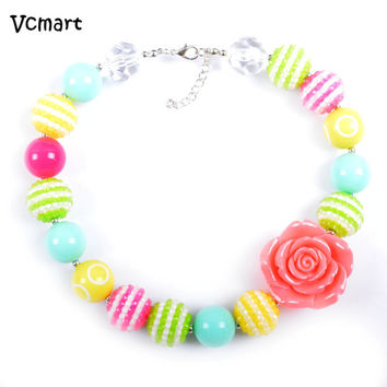 Easter 2Pcs Lovely Pastel Toddler Kids Chunky Bubblegum Necklace Baby Girl Easter Rose Flower Necklace Jewelry Party Favor