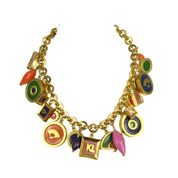 Vintage Karl Lagerfeld Enameled Charm Necklace 1980s