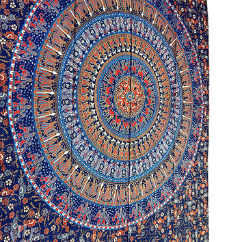 Hippie Tapestries, Elephant Mandala Tapestry, Indian Cotton Bedspread Bed Sheet Throw, Boho Bohemian Table Cloth, Ethnic Twin decorative art