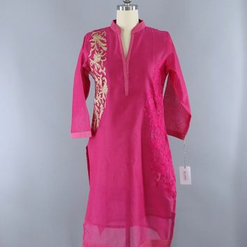 Vintage Indian Kurta Caftan Tunic Dress / Pink Embroidered Cotton Organdy