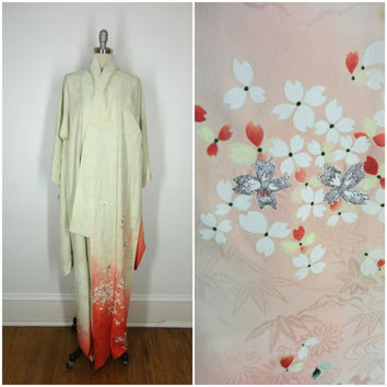 Vintage Silk Kimono / 1960s / Tomisode Furisode / Cream Ivory Floral Print / Long Robe / Downton Abbey
