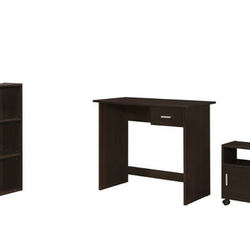 COMPUTER DESK - 3PCS SET CAPPUCCINO DESK/BOOKCASECART