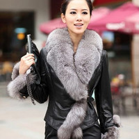 Faux Fox Fur Collar Leather Coat