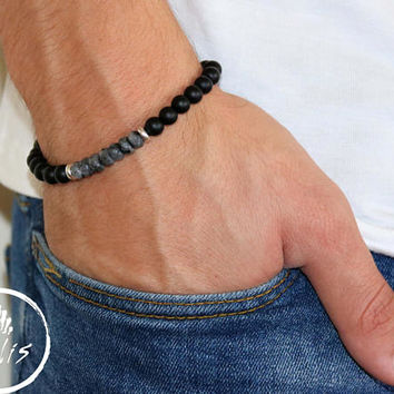 Men's Bracelet - Men's Beaded Bracelet - Men's Cuff Bracelet - Men's Jewelry - Men's Gift - Husband Gift - Boyfriend Gift - Present For Men