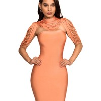 Honey Removable Collar Strapless Bandage Dress