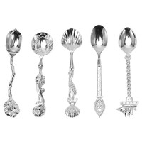 5Pcs Kitchen Dining Vintage Royal Style Metal Carved Small Coffee Spoons Bar Fruit Mini Snacks Dessert Spoon