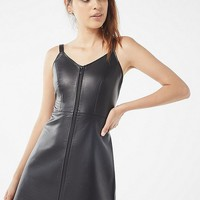 UO Loretta Faux Leather Zip-Front Mini Dress | Urban Outfitters