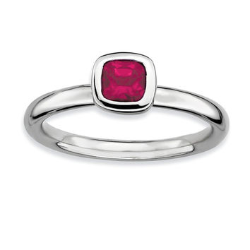 925 Sterling Silver Cushion Form Bezel Setting Syn. Created Ruby Ring: Size: 7