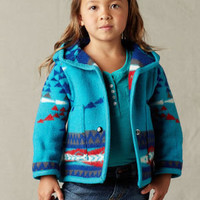 Children's Wool Coats, Kid's Sacred Shield Wool Coat in Scuba Blue