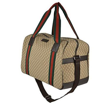 Gucci Bag 374769 Beige Ebony Diamond Canvas Travel Duffel Handbag Web Detail