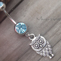 Cute Owl Belly Button Ring- Blue Crystal Belly Ring- Silver Owl Navel Ring Jewelry Piercing- B009