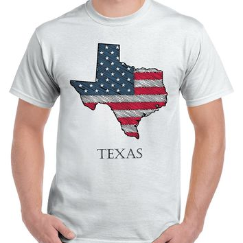 Texas State Pride American Flag USA Patriotic Gift Ideas Cool T-Shirt Tee