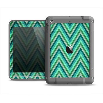 The Vibrant Green Sharp Chevron Pattern Apple iPad Air LifeProof Fre Case Skin Set