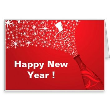 Happy New Year Red Champagne Greeting Card