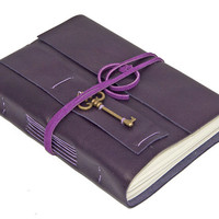 Purple Leather Journal with Key Bookmark