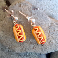 Miniature Hot Dog Post Earrings