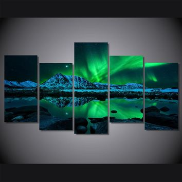 5 Pieces/set HD Aurora Borealis Painting on Canvas Painting Wall Art Pictures for Home Decoration Living Room Unframed