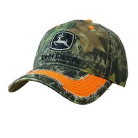 John Deere Men's Twill Camouflage Orange Trim Cap Camouflage One Size