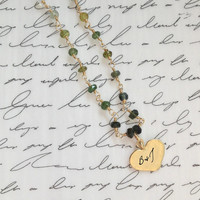 Ombre Emerald and Watermelon Tourmaline personalized Gold Heart Charm Necklace Valentine gift