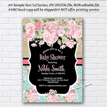 Baby Shower Invitation, Bridal shower, floral watercolor, flower, shabby chic, teal rose flowers - card 983
