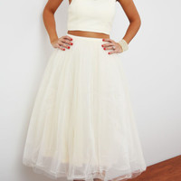 Sweet White Two-Piece Evening Party Dress
