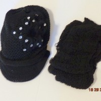 KNIT HAT AND SCARF SET Black  For $0.01 when you spend over $30.00