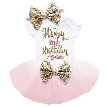 Summer Girl Baby Clothing Sets Gold Sequins Baby Girl Tutu 6 Month 1 2 Year Birthday Outfits Girl Infant Party Wear Kids Clothes