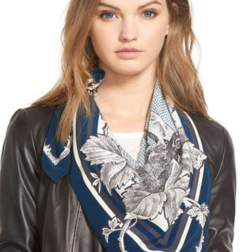 Women's The Kooples Square Silk Scarf - Blue
