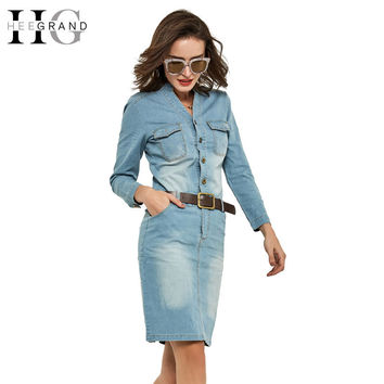 HEE GRAND 2017 Spring Summer Straight Dresses Denim Casual Slim Full Sleeve Solid V-Neck Vestidos Women Drss WQL4389