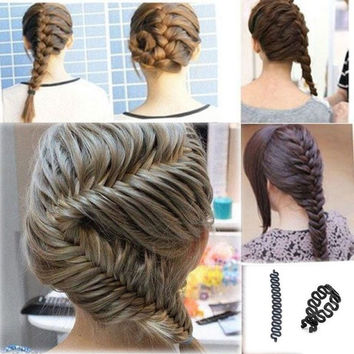 Women French Hair Braiding Tool Roller With Magic hair Twist Styling Bun Make = 5658541057