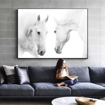 Black And White Color Horses Wall Art Canvas Abstract Animals Paintings On The Wall Modern Horse Posters For Living Room Cuadros