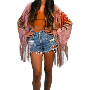 Dusty Pink Floral Velvet Burnout Gypsy Fringe Beaded Kimono Jacket