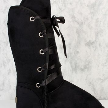 Black Lace Up Mid Calf Fall Boots Faux Fur Faux Sudede