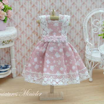 Miniature Doll Dress Lace Decorated, Butterfly Pattern