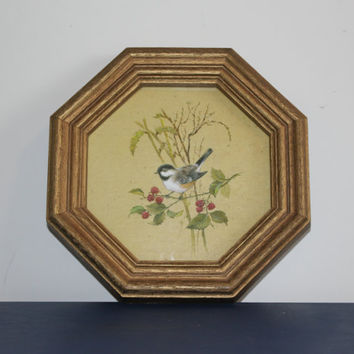 Vintage Homco gold faux wood octagon framed bird art, wall decor, wall hanging, birds